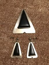 ANTIQUE VTG STERLING SILVER TRIANGLE Pyramid PENDANT EARRING SET Black Onyx Rare