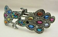 2 Peacock Bracelet Decorated w/ Multi-Color Rhinestones Hinged Dark Gray in Box