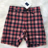 NWT Janie and Jack Boys 6-12 Month Red Blue White Plaid Shorts Captain's Cottage