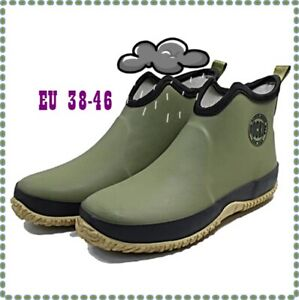 Herren-Slip-on Regen Stiefel Wasserdicht Gummi Stiefeletten Outdoor Casual EU46