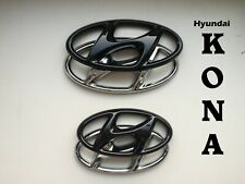 Hyundai Kona SET Cover Emblem hochglanz–schwarz blacked out Badge gloss black