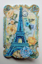 *PUNCH STUDIO Set of 6 Die Cut Blank Note Cards ~Floral~Paris ~Blue Eiffel Tower