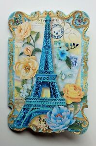 *PUNCH STUDIO Set of 6 Die Cut Blank Note Cards ~Floral~Paris ~Blue Eiffel Tower