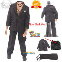 "*1:6 WWII Common People Civilians Wool Greatcoat Suit Black Strips F 12"" Figure"