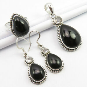 925 Sterling Silver AAA Grade BLACK ONYX & BLUE TOPAZ Jewelry SET
