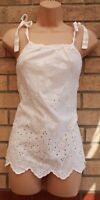 PAPAYA WHITE STRAPPY CROCHET EMBROIDERED COTTON SLEEVELESS TUNIC TOP CAMI 14 L
