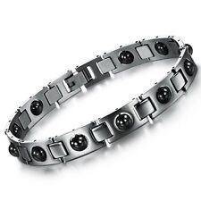 Stainless Steel Black Magnetic Stone Chain Bracelet Healthy Jewelry For Men Gift