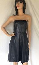 Lyn Devon $1258 NWT sz 6 Leather Strapless Dress 100% Silk Lining