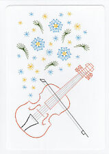 Hand Made Card Stitched Music Violin and Flowers BirthdayGood Luck