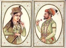 Mughal Painting Handmade Indian Royalty Portrait Shah Jahan Mumtaz Mahal Art