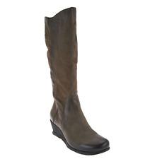 Miz Mooz Tall Leather Wedge Boots with Side Zip - Marybeth Women's EU40 US 9-9.5