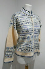 Dale Of Norway cream blue Nordic knit zip front jumper L 14 VGC casual cosy ski