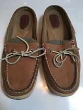 SPERRY Women's Size 6 Topsiders Tan Leather Boat Shoe Mules Slip on Loafers