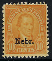 SCOTT 679 1929 10 CENT MONROE NEBRASKA OVERPRINT ISSUE MH OG F-VF CAT $57!