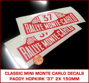 Classic Rover Mini Cooper S Monte Carlo Rally Decals Paddy Hopkirk Style