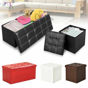 Folding Faux Leather Ottoman Pouffe Storage Box Foot Stools 3 Seater Bench Seat