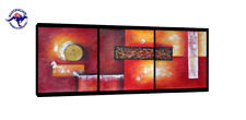3 PANELS SET ABSTRACT WALL ART OIL PAINTINGS HAND PAINTED MODERN DECOR -NO FRAME