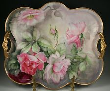 "14.5"" LARGE LIMOGES HAND PAINTED TRAY ROSE"