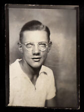 CLEAR FRAMES HIPSTER GLASSES COCKY POSER MAN~ 1930s PHOTOBOOTH PHOTO! gay