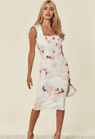 Women's Cream Off White Floral Print Midi Party Bodycon Pencil Dress Sz 12 - 18