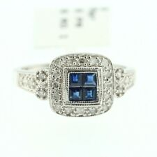 Womens 14k White gold Genuine Round Cut Diamond Blue Sapphire Lady Cocktail Ring
