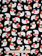 Christmas Fabric - Holiday Polar Bear Animals Black #15267 Kaufman Jingle - Yard