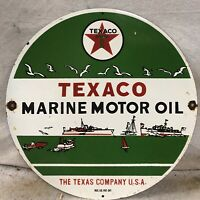 "VINTAGE 11.75"" TEXACO MARINE MOTOR OIL PORCELAIN SIGN"