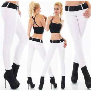 Hipster Skinny Jeans White Pants Stretch Slim Fit Belt Included siz 6,8,10,12,14