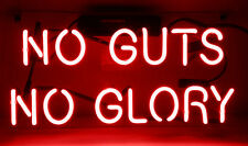 "14""x6"" NO GUTS NO GLORY Neon Sign Light Handmade Real Glass Tube Wall Poster DIY"