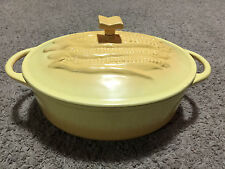 Yellow Enamel Cast Iron Oval Roaster 11 x 9 x 4 Inch 4 Quart Corn Cob Lid Cover