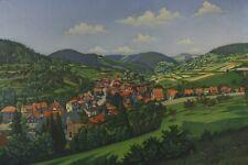 Alfred Rüdiger: Ansicht aus der Rhön Vedute Ölbild Untermaßfeld 1956 Antik Kunst