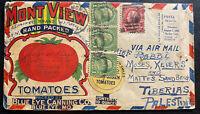 1928 Richmond VA USA Mont View Advertising Airmail Cover To Tiberias Palestine