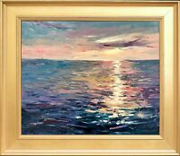 Original Oil Painting with Custom Made Frame, Signed R Mathy, Sunrise Seascape