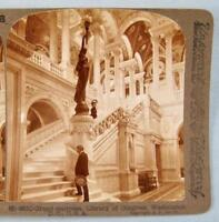 Stereoview Underwood 9510 Grand Staircase Washington DC Library Of Congress (O)