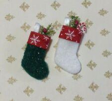 Miniature Dollhouse Christmas Stocking Set of 2 Handmade With Lace by Cyndi