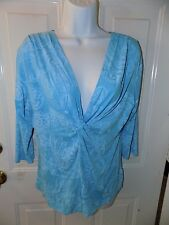 Fresh Produce Blue Floral/Paisley Shirt Knotted V Neck 3/4 Sleeve Size M Women's