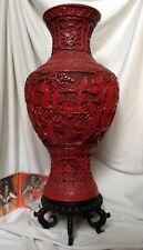 XLarge Chinese Vase Cinnabar Resin Lacquer Man Lady Child Palace Flower Svastika