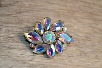 Vintage Soviet USSR Brooch with Shiny White Stones Czech Glass Russian