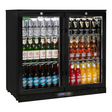 New Rhino Commercial Under Bench Black Glass Double Door Bar Fridge Energy Effic