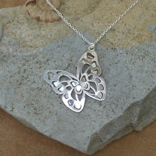 """New Solid 925 Sterling Silver Butterfly Necklace Jewellery Chain 18"""""""