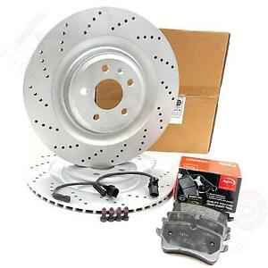 FOR AUDI S6 S7 REAR VENTED CROSS DRILLED PERFORMANCE BRAKE DISCS PADS + WIRES