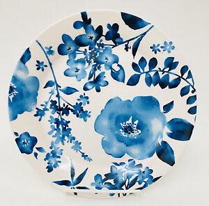 "Pier 1 AZURE FLORAL Blue Flowers Ironstone Salad Accent Plate 8.75"""