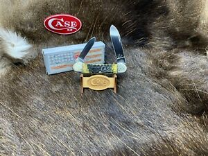 2008 Case Silver Script Canoe Knife Bone Handles Scrolled Bolsters Mint Box 31B