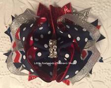 Red White Navy Silver Dot Chevron Patriotic 4th of July Jeweled Hair Bow 4""