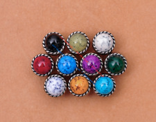 10X 10mm Antique Flower Turquoise Conchos Leather Crafts Bag Wallet Decoration