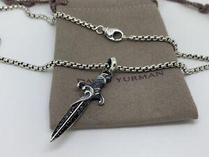 David Yurman Stealing Silver Black Diamond Box Chain Amulet Dagger Pendant