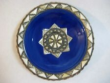 Hand Made Art Pottery Plate With Horn & Copper, Signed (Rare)