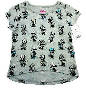 Minnie Mouse T-Shirt 3T Toddler Girls Short Sleeve T-Shirt - Gray NWT