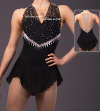Girl custom ice skating dress spandex pink figure dresses competition black