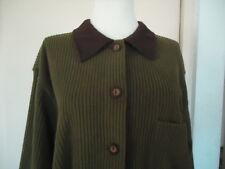 AVON STYLE Stripe Fleece Long Sleeve Sport Jacket, Olive, Sz S, NWOT